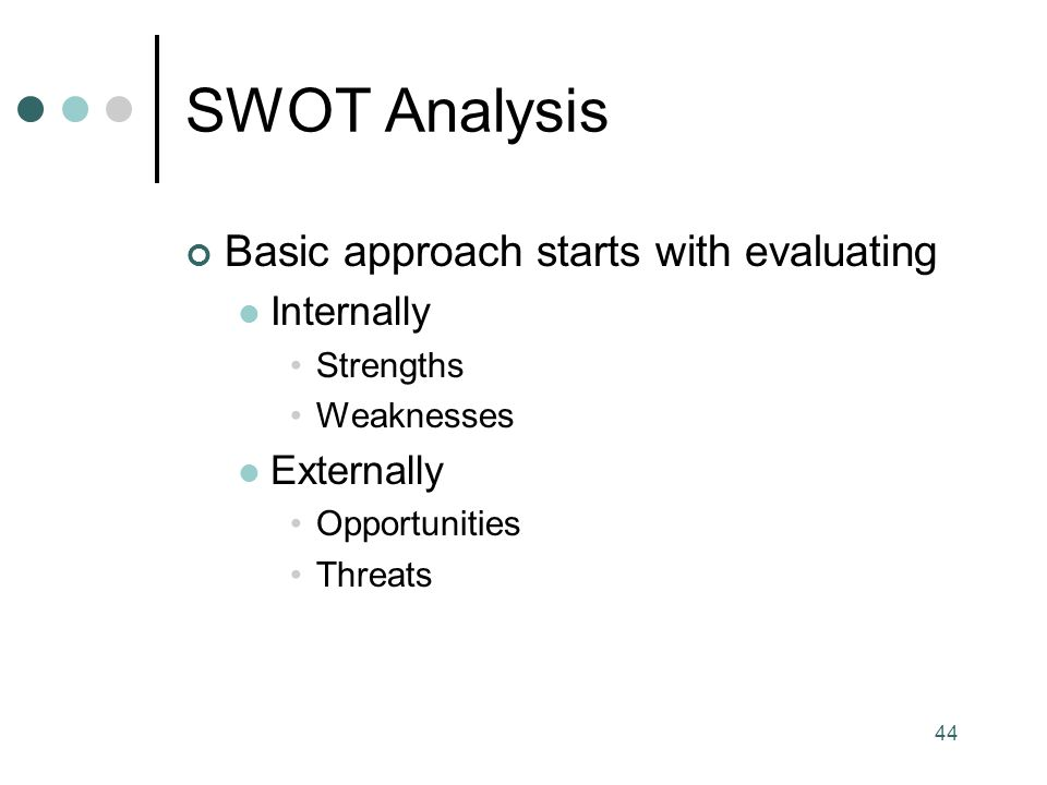 SWOT Analysis Basic approach starts with evaluating Internally