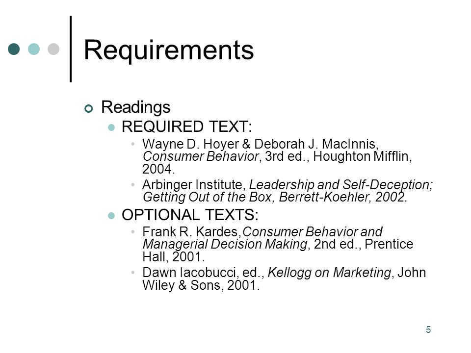 Requirements Readings REQUIRED TEXT: OPTIONAL TEXTS: