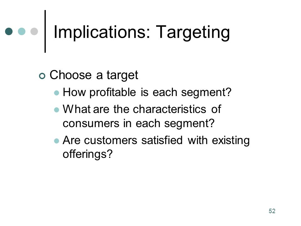 Implications: Targeting