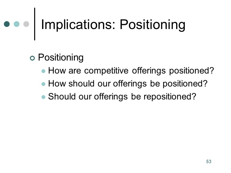 Implications: Positioning