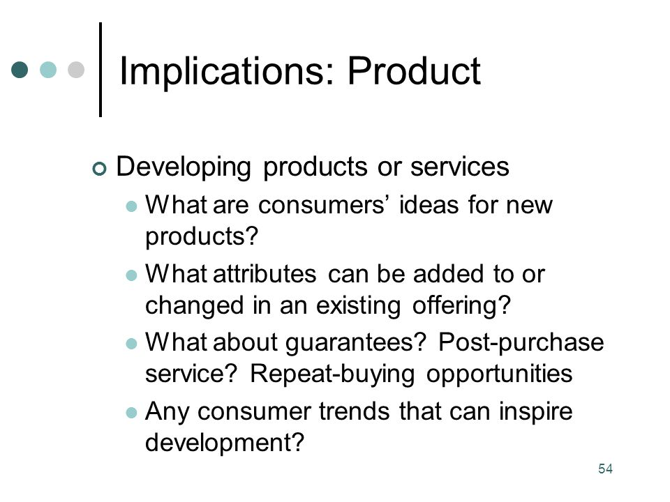 Implications: Product