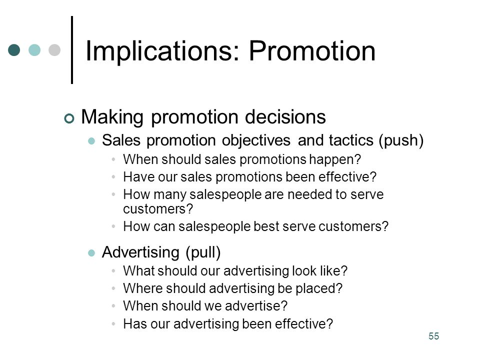 Implications: Promotion