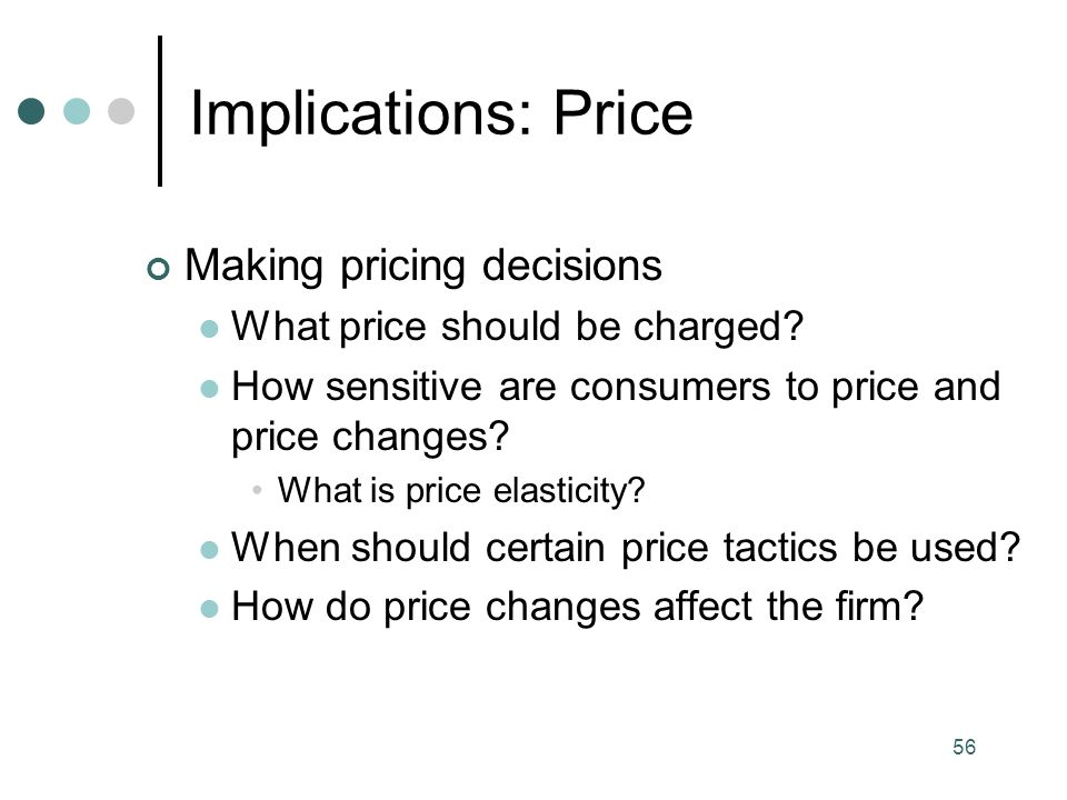 Implications: Price Making pricing decisions