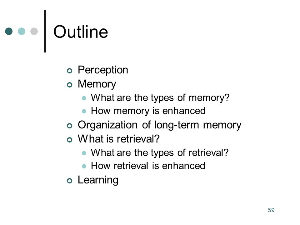 Outline Perception Memory Organization of long-term memory
