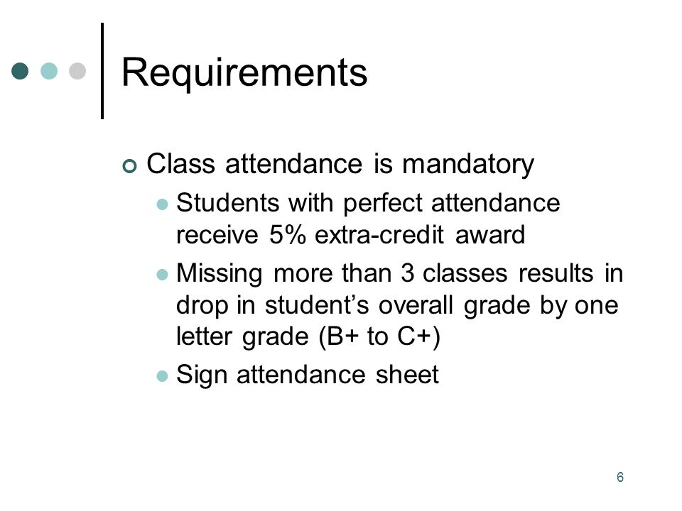 Requirements Class attendance is mandatory