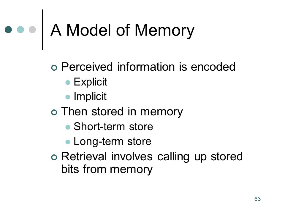 A Model of Memory Perceived information is encoded