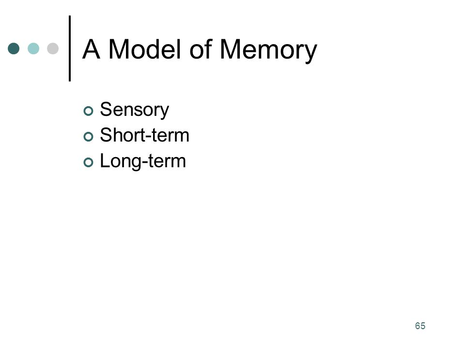 A Model of Memory Sensory Short-term Long-term