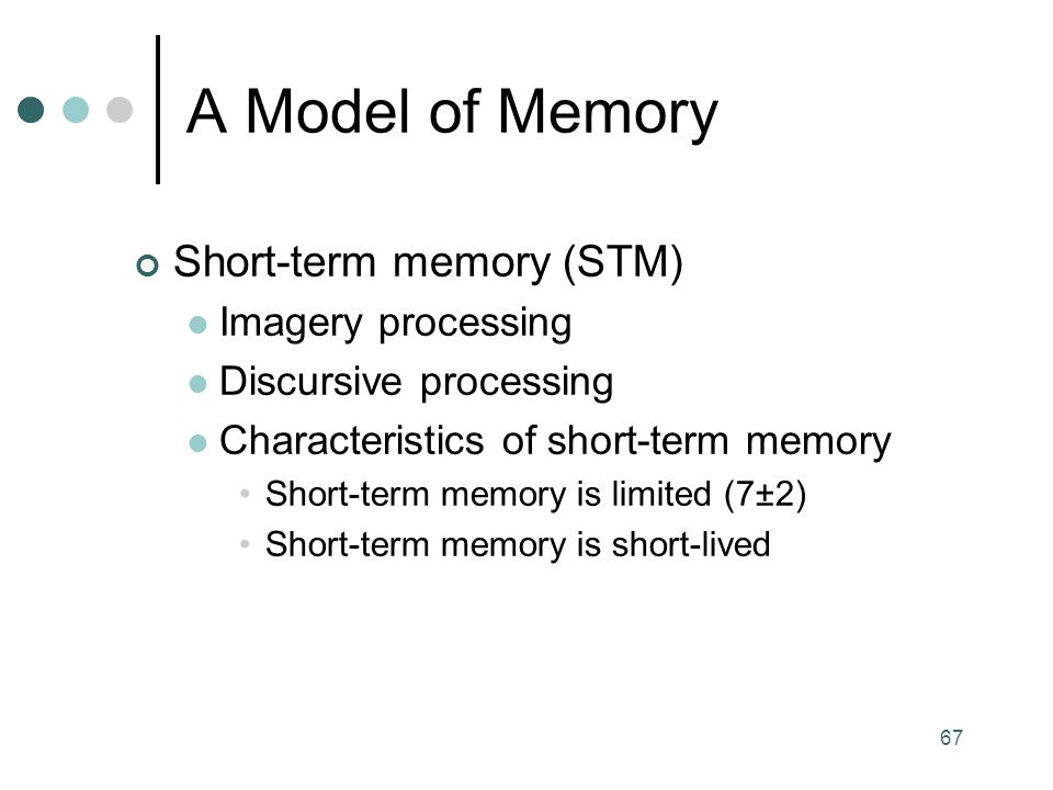 A Model of Memory Short-term memory (STM) Imagery processing