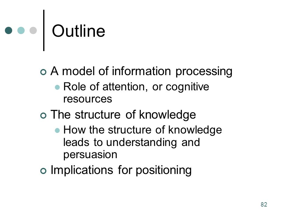 Outline A model of information processing The structure of knowledge