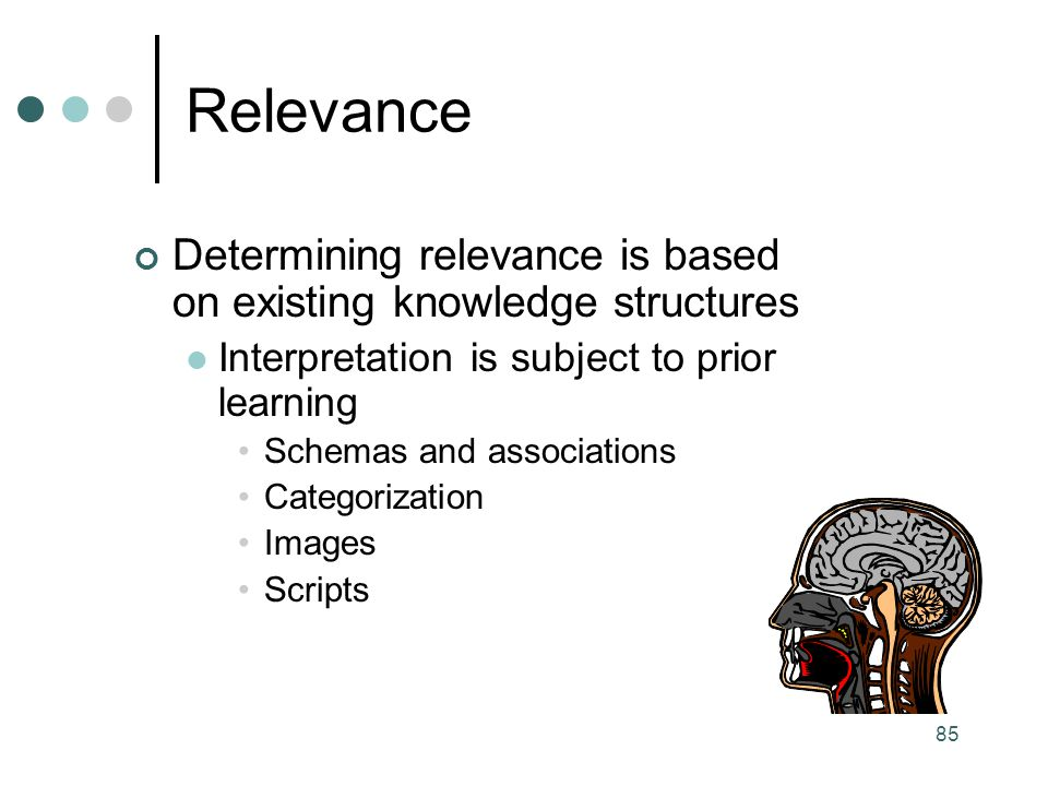 Relevance Determining relevance is based on existing knowledge structures. Interpretation is subject to prior learning.