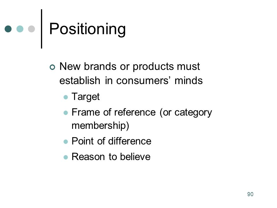 Positioning New brands or products must establish in consumers' minds