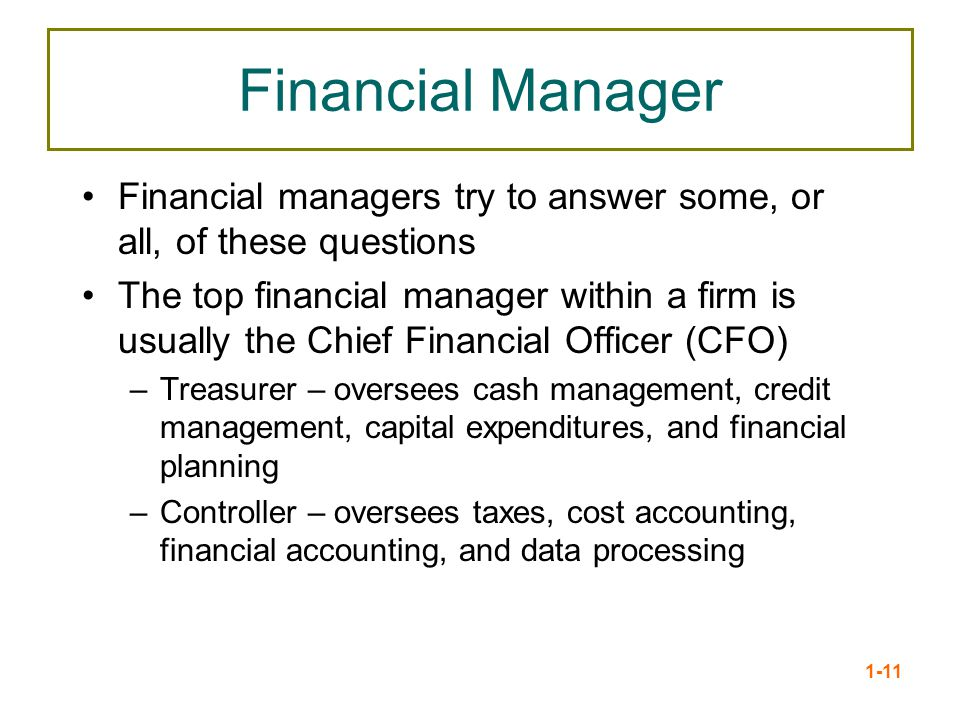 Financial Manager Financial managers try to answer some, or all, of these questions.