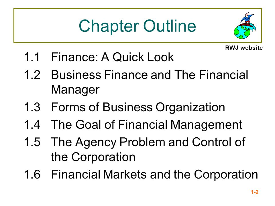 Chapter Outline 1.1 Finance: A Quick Look