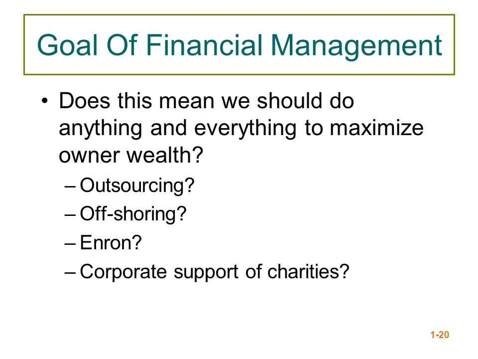 Goal Of Financial Management