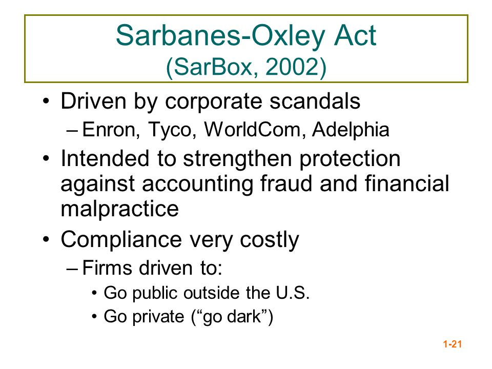 Sarbanes-Oxley Act (SarBox, 2002)
