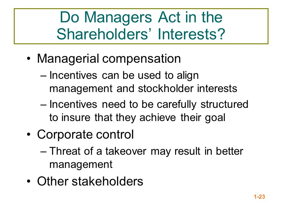 Do Managers Act in the Shareholders' Interests