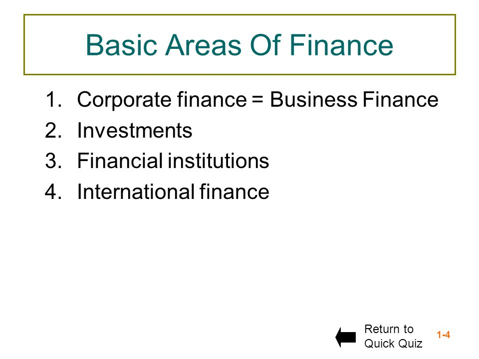Basic Areas Of Finance Corporate finance = Business Finance