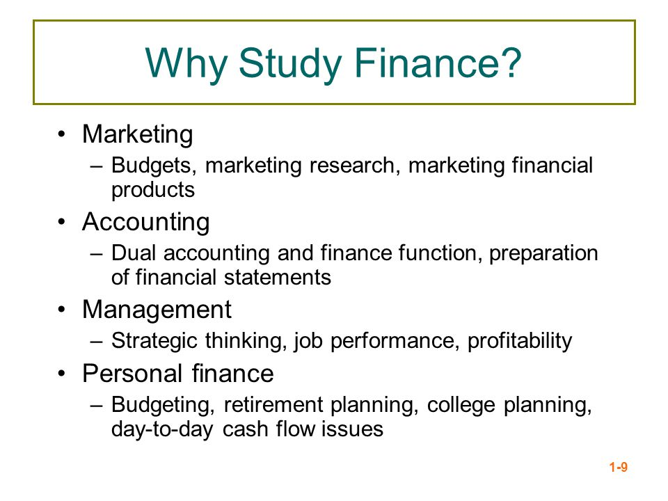 Why Study Finance Marketing Accounting Management Personal finance