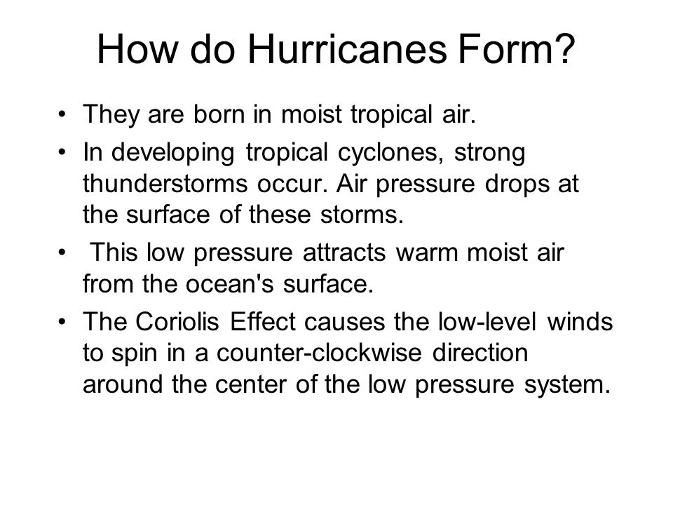 How do Hurricanes Form They are born in moist tropical air.