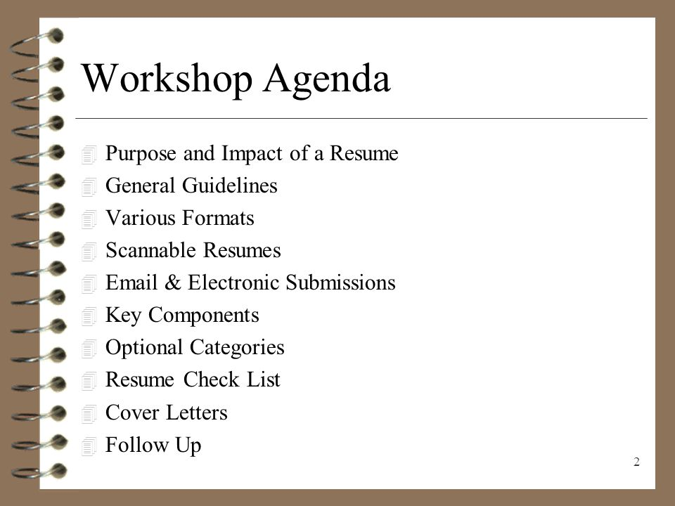 Workshop Agenda Purpose And Impact Of A Resume General Guidelines