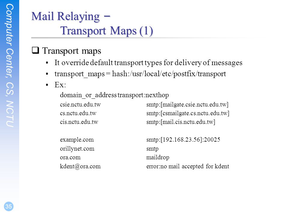 Mail Relaying – Transport Maps (1)