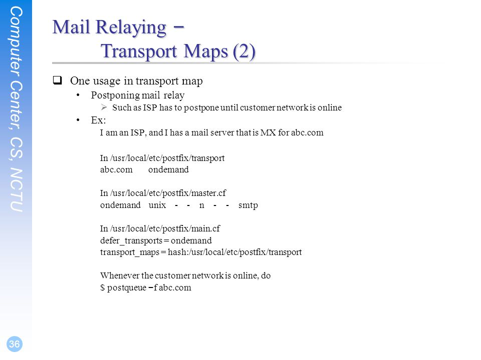 Mail Relaying – Transport Maps (2)