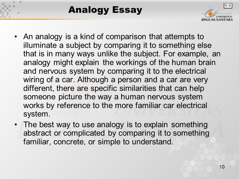 making an analogy essay Writing the persuasive essay includes  paragraph of the persuasive essay an analogy gives the reader context or  drapes for persuasive writing.