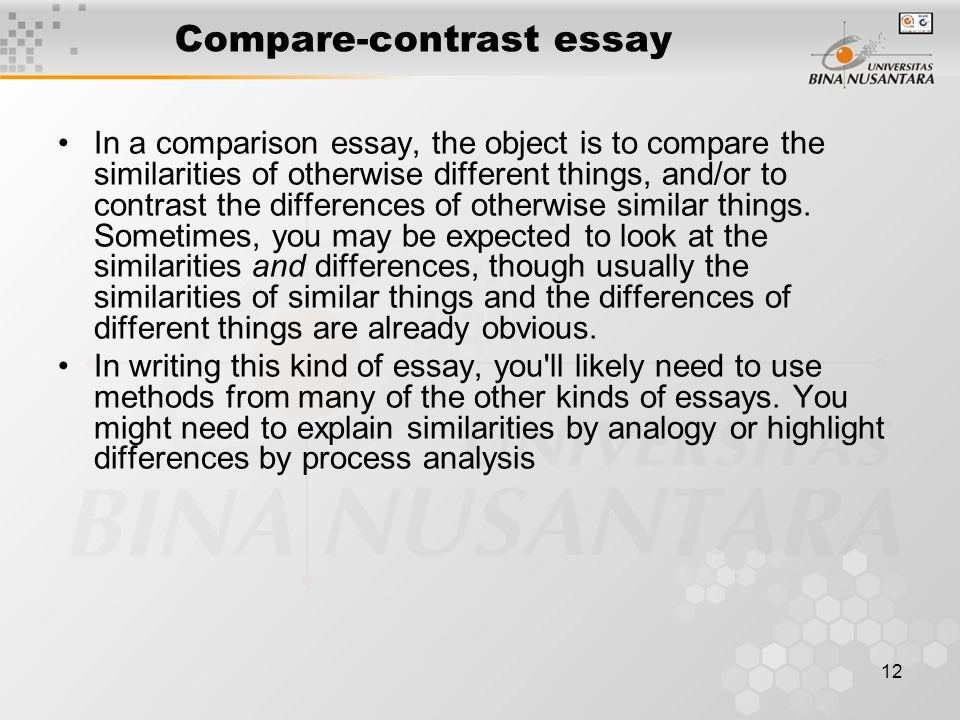 compare and contrast 12 essay To compare and contrast two or more things, be fully acquainted with their details use either the block method or the point-by-point method for your essay.