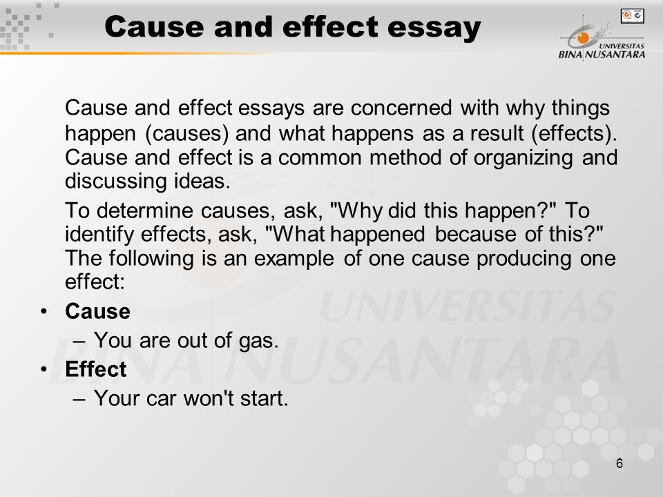 definition of a cause and effect essay What subject to choose when it comes to cause and effect essay writing we have collected some good ideas to get you started with your essay choosing the essay topic for cause and effect essay type is not difficult, here are some good sample essay topics.