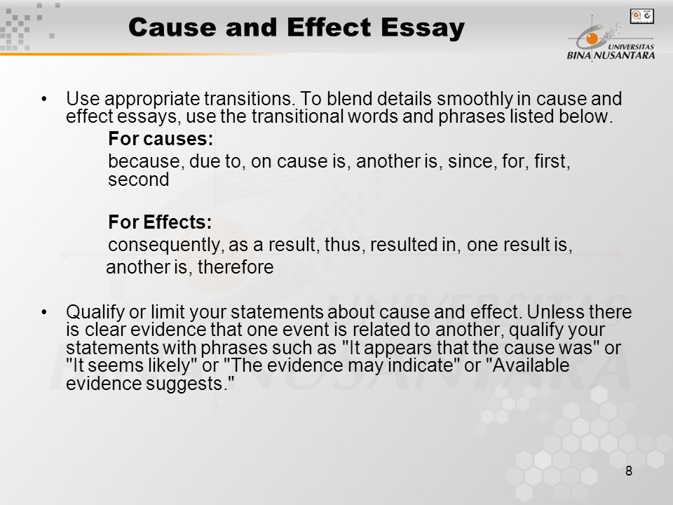 transition words used cause effect essay When you write a cause and effect essay it can be considered a cause of the restructuring of the eurasian geopolitical space do use transition words that will make your essay easier to comprehend such words as due to, thus.
