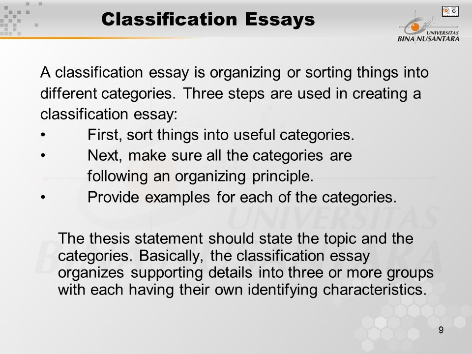 Classification Essays Classification Essay What Is A Classification  Matakuliah G Writing Iv Tahun Versi V Rev Classification Essays