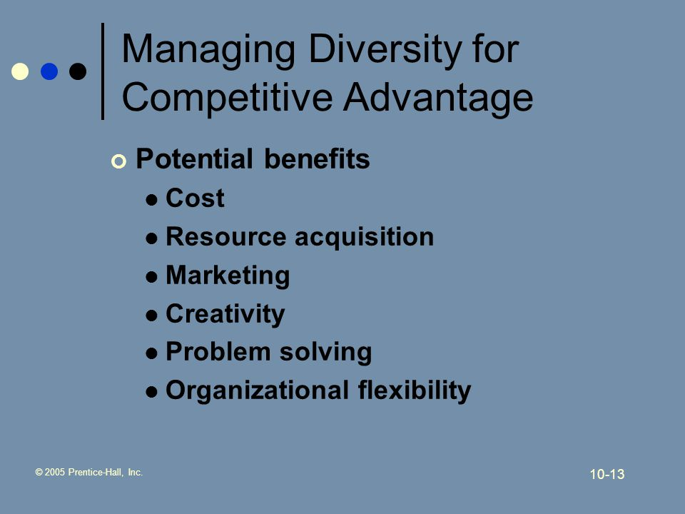achieving a competitive advantage managing diversity Talent management: achieving competitive advantage talent management, as the name itself suggests, means managing the ability, competency and the empowerment of employees within an organisation.
