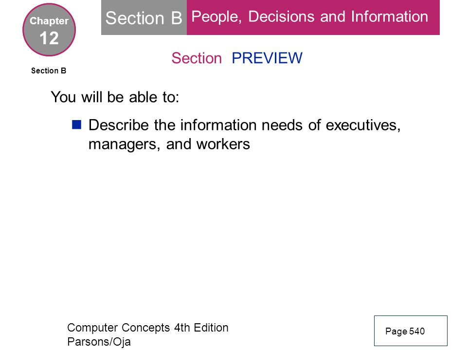 Section B 12 People, Decisions and Information Section PREVIEW