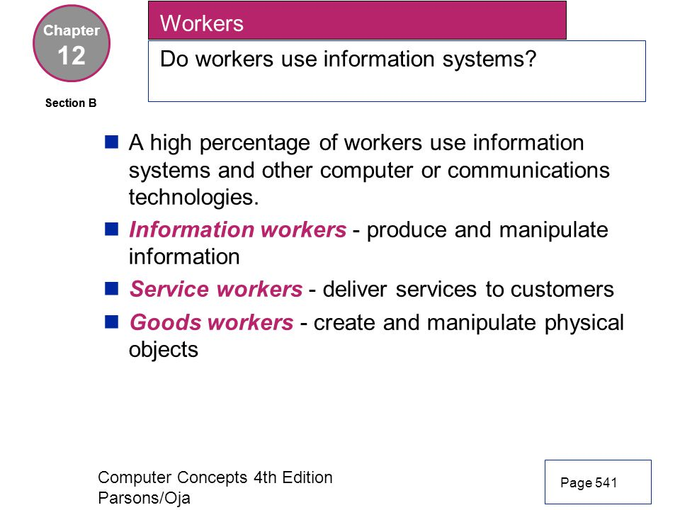 12 Workers Do workers use information systems
