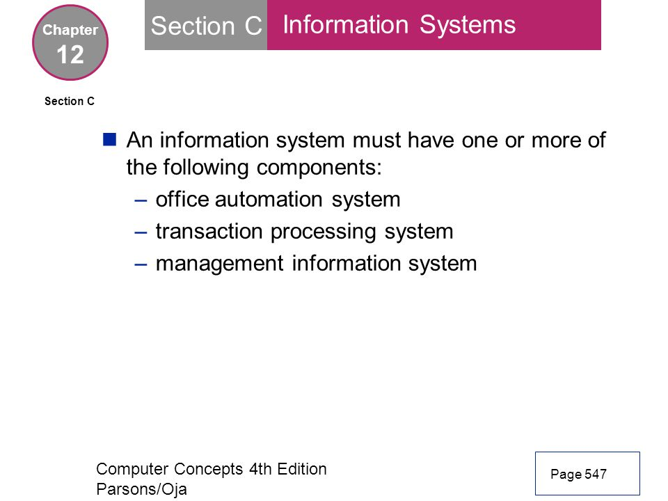 Section C Information Systems 12