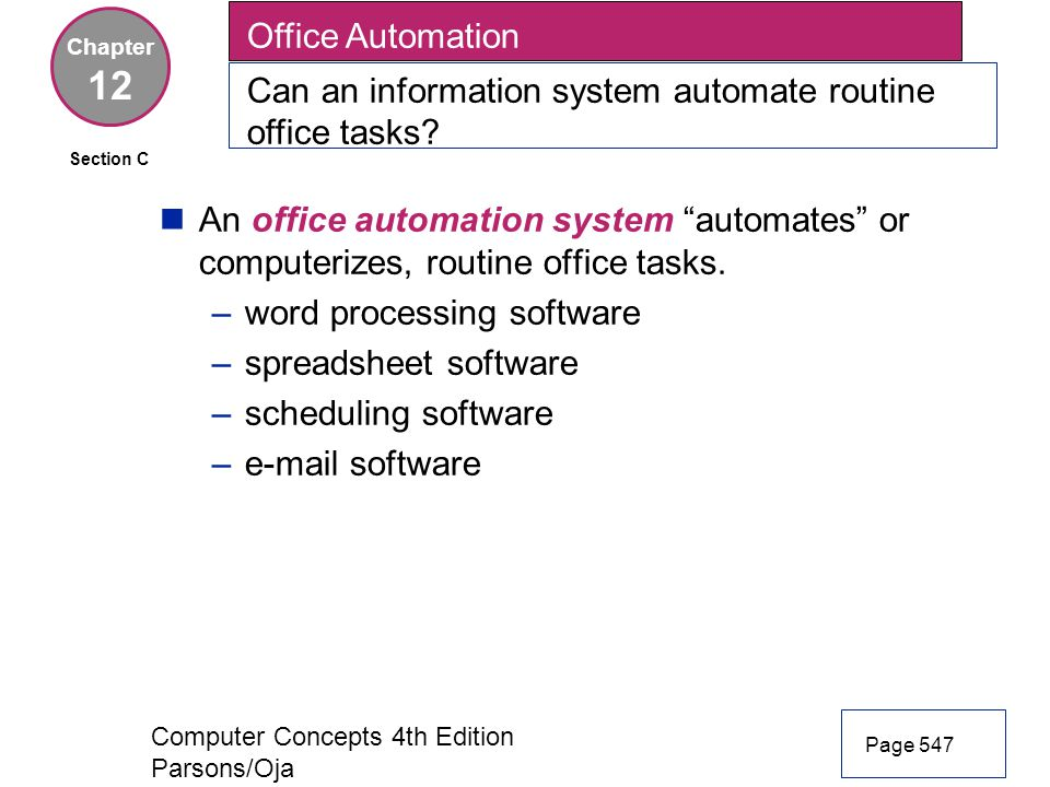 Office Automation Can an information system automate routine office tasks Chapter. 12. Section C.