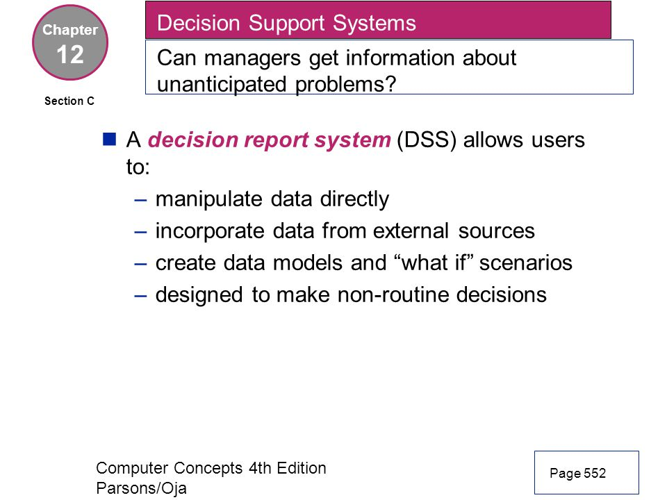 12 Decision Support Systems