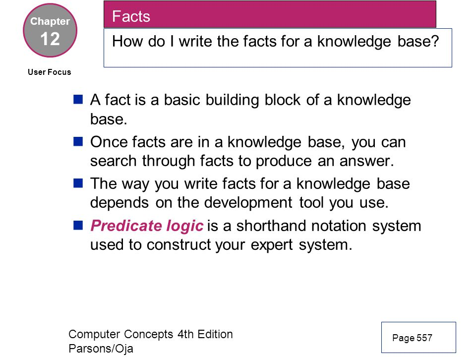 12 Facts How do I write the facts for a knowledge base