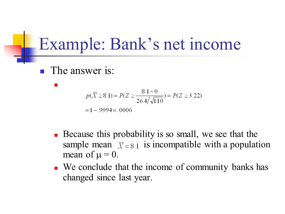 Example: Bank's net income