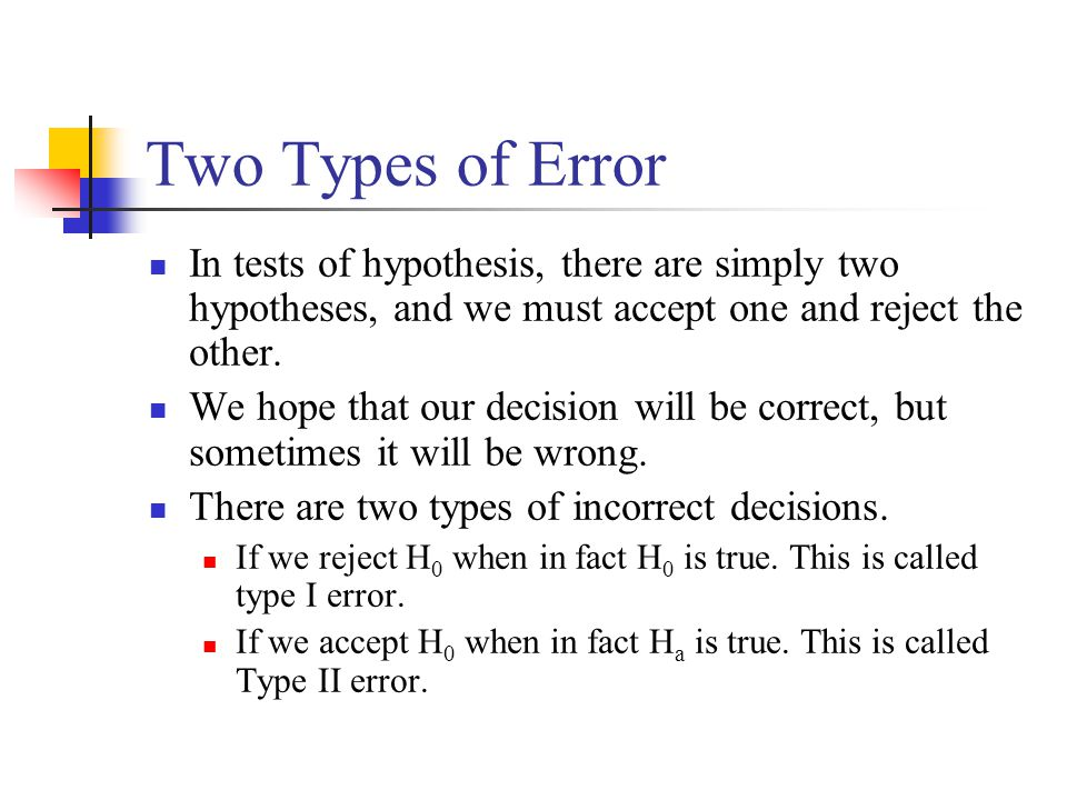 Two Types of Error In tests of hypothesis, there are simply two hypotheses, and we must accept one and reject the other.