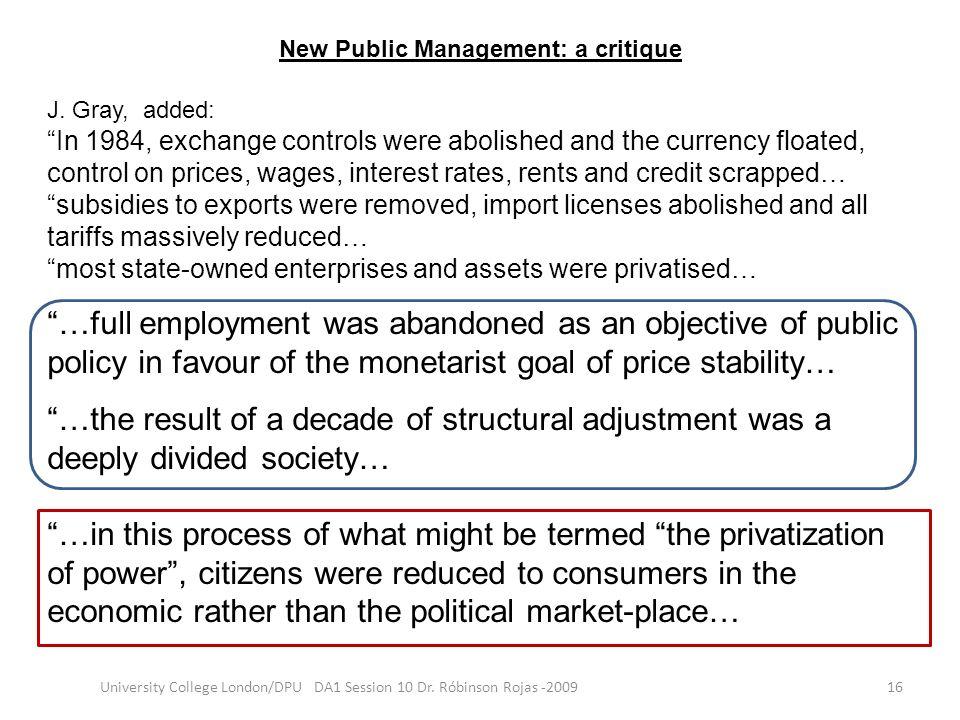 New Public Management: a critique