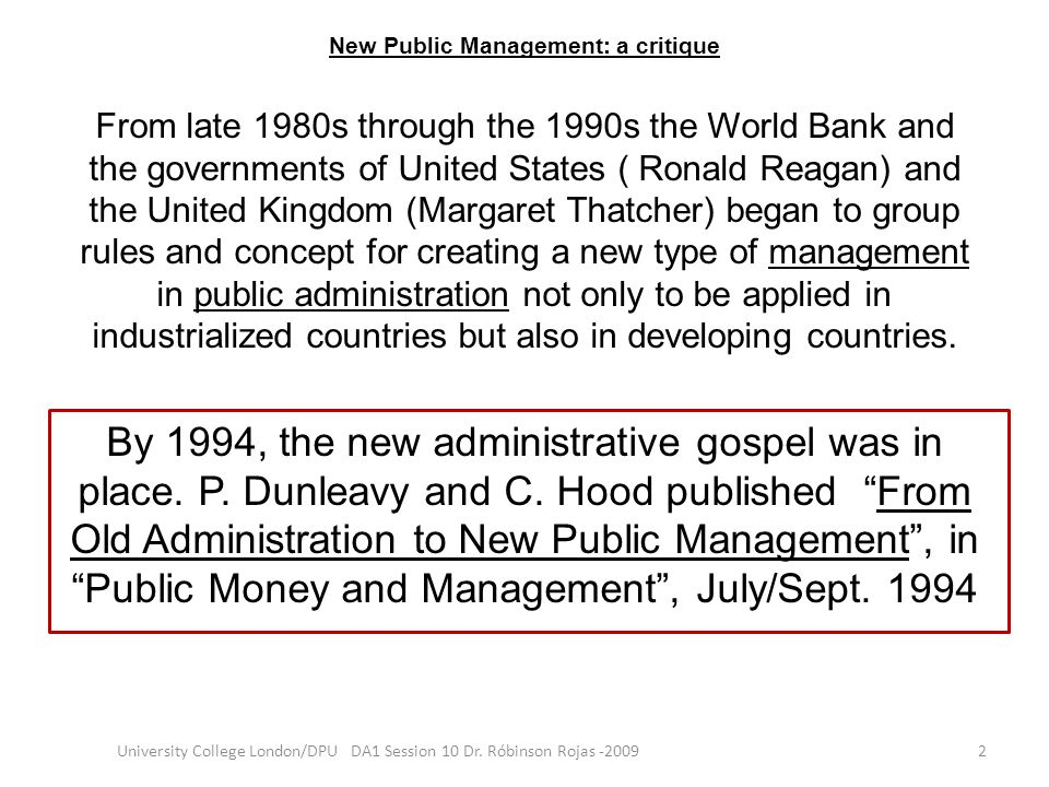 New Public Management: a critique
