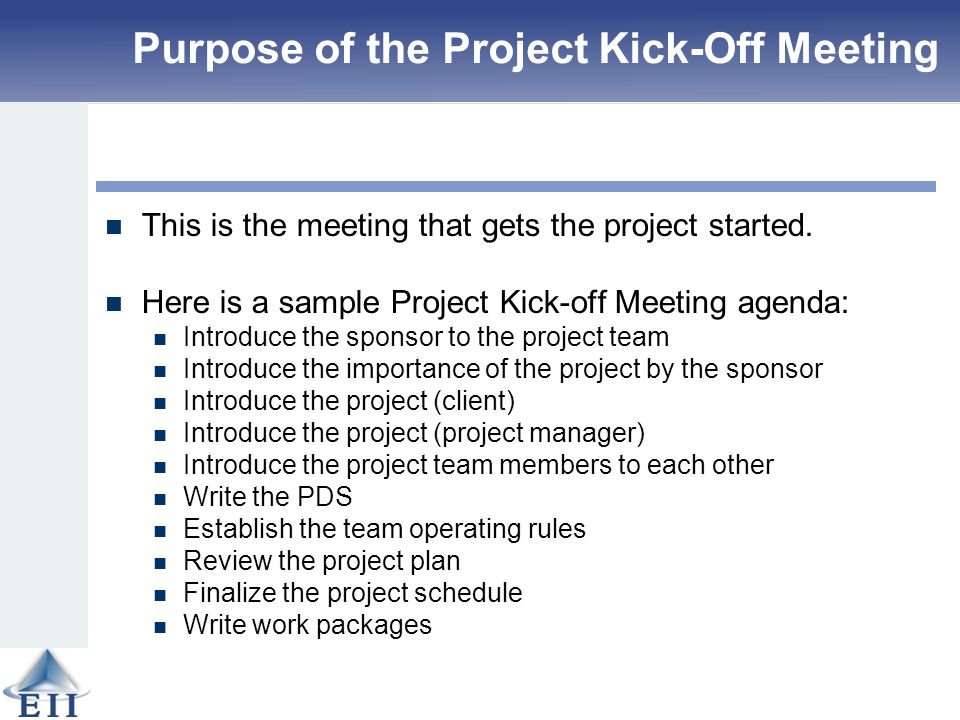 Agenda Kickoff Meeting Project