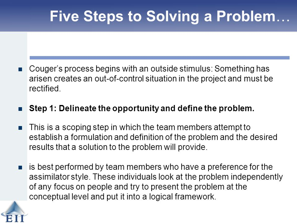 five steps for business problem solving Organizational problem solving is an on–going process as long as the organization survives is your business well-organized for improvement and success the practitioner's guide for organizing an organization is a powerful new model that takes into account both processes and people.