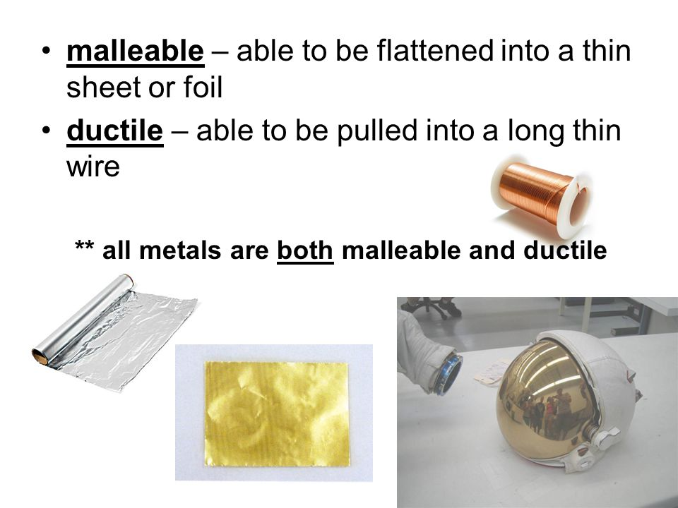 examples of metals malleable related keywords suggestions