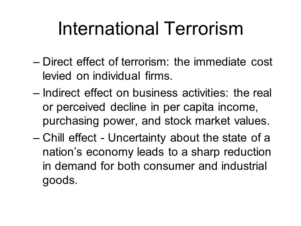 effect of terrorism on international business essay Terrorism is a forceful and unlawful method to achieve the desired goal  impact of terrorism on society and economy:  essay on the role of education in society.