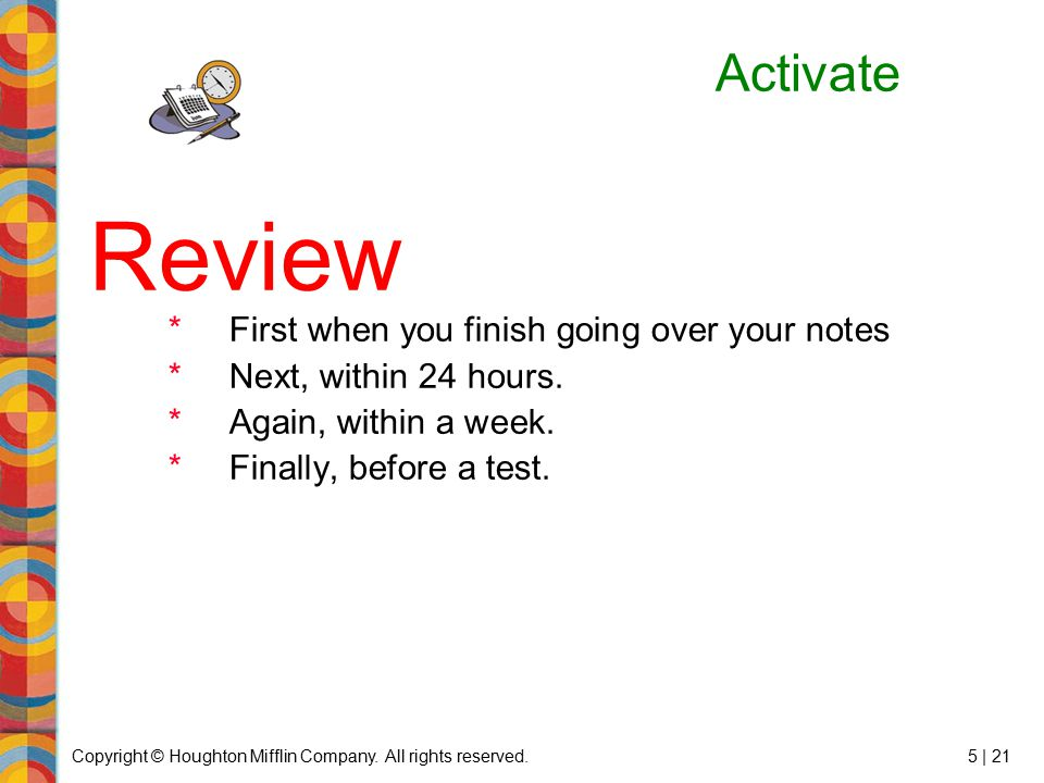 Review Activate First when you finish going over your notes