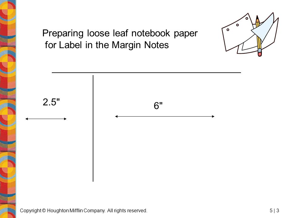 Preparing loose leaf notebook paper