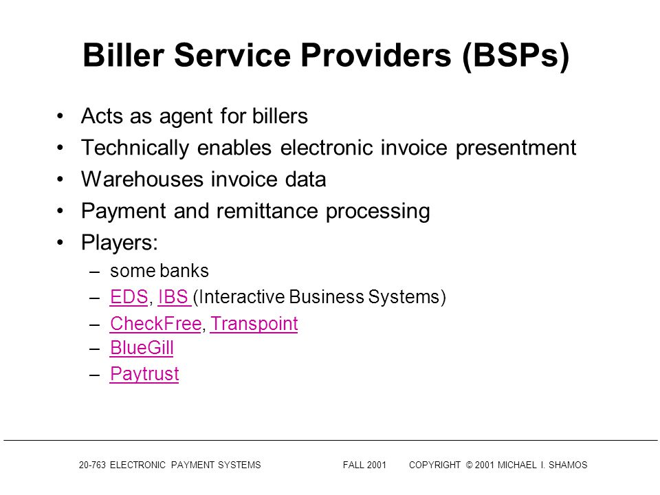 electronic payment systems lecture 14 electronic invoice presentment and payment electronic