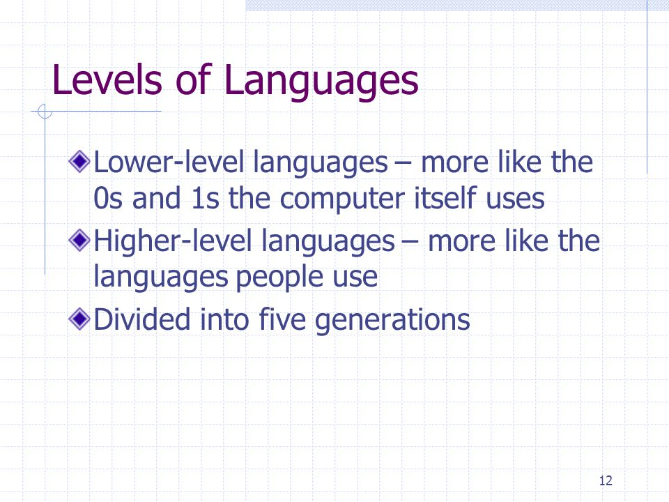 Levels of Languages Lower-level languages – more like the 0s and 1s the computer itself uses.